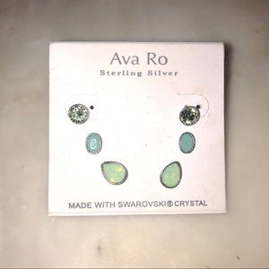 Ava & Ro Delicate Earring Trio - Adventurine Stone